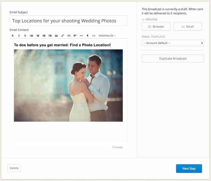 You may not want to send Wedding Photography related emails to your Corporate clients!