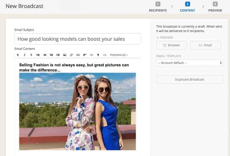 """If some of your contacts clicks on a specific offer in a Fashion Photography mail they become """"prospects""""."""