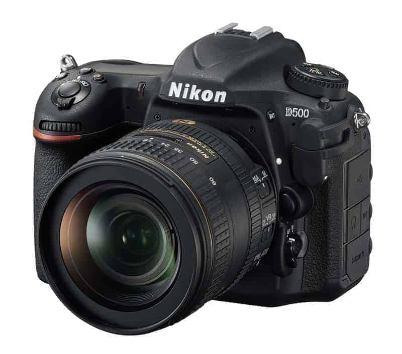 Front View of Nikon D500 with kit lens