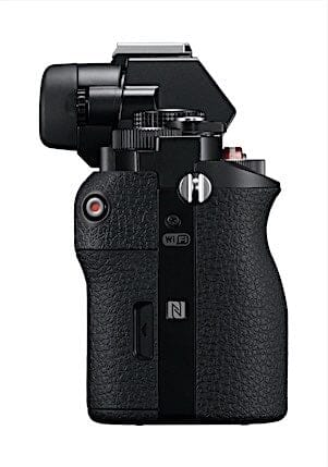 Side View of the Sony a7. It has WiFi and NFT Connectivity. Overall it is a solid build.