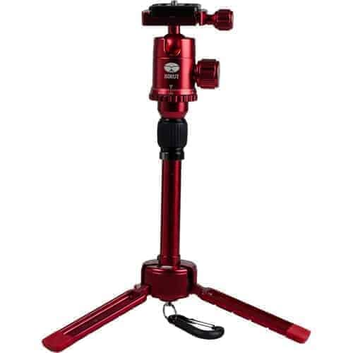 """Sirui 3T-35R 1-Section Aluminum Table Top Tripod, 8.8lbs Capacity, 13"""" Maximum Height, Red"""