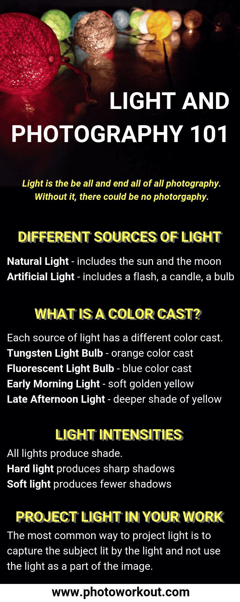 Light and Photography 101 Infographic: Sources of Light, Color Cast, Light Intensity, Project Light