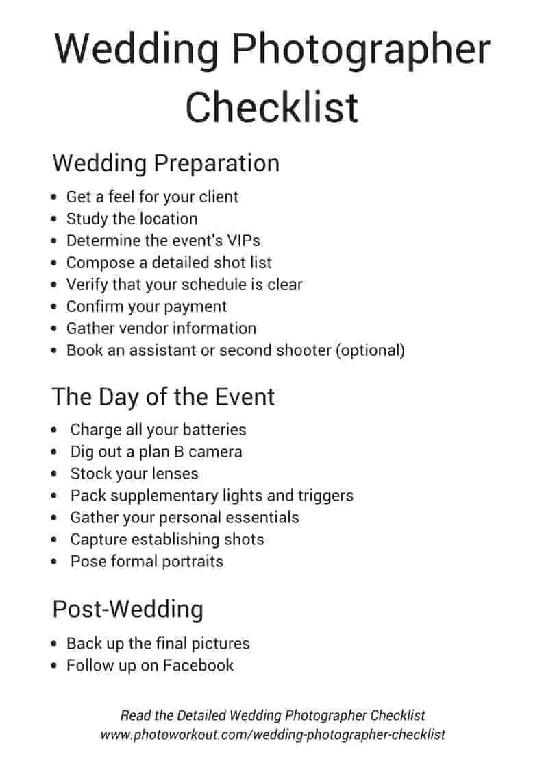 graphic regarding Wedding Photography Checklist Printable identified as Marriage Photographers Listing (Consists of Absolutely free Obtain)