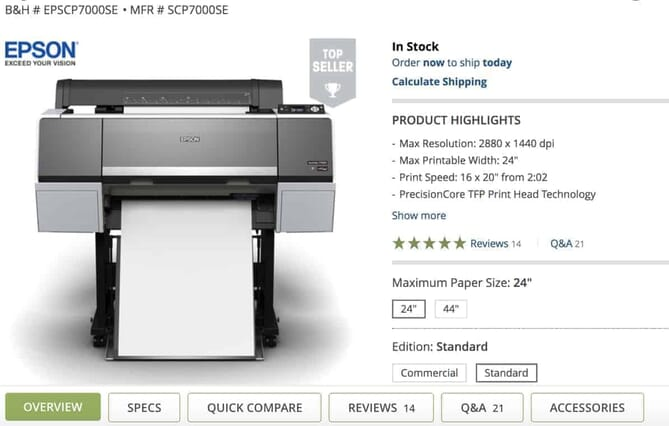 Epson EPSCP7000SE - one of the Best Professional Photo Printers