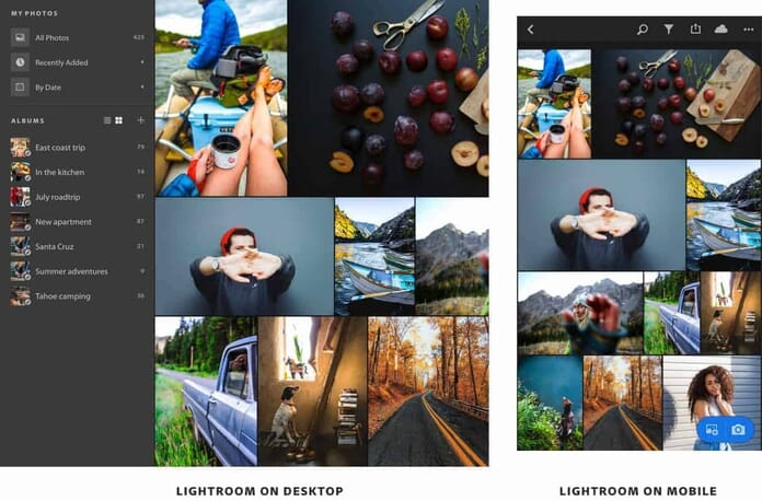 Lightroom CC Desktop vs Mobile View