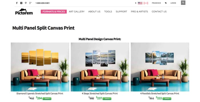 Pictorem Multi Panel Canvas Prints