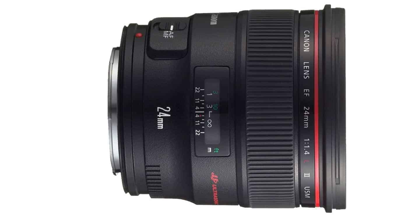 Best Canon Landscape Lens #3: Canon EF 24mm f/1.4L II USM Wide Angle Lens - Fixed