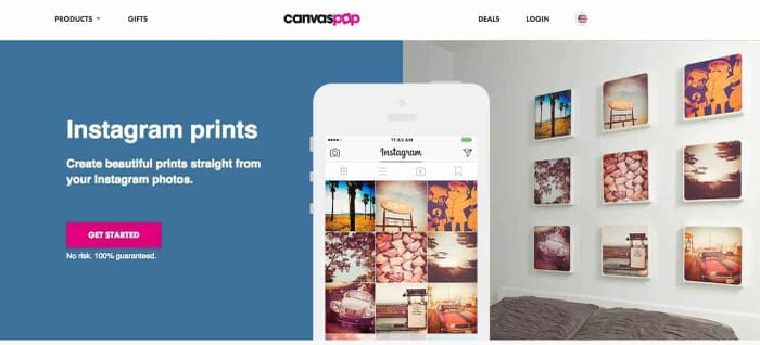 Printing Instagram Images on Canvas with CanvasPop Website Screenshot from: https://www.canvaspop.com/options/print-instagram-photos