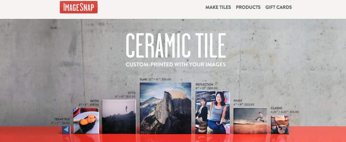 Creating Ceramic Tiles with your Instagram Photos by ImageSnap, Website Screenshot from: https://www.imagesnap.com/