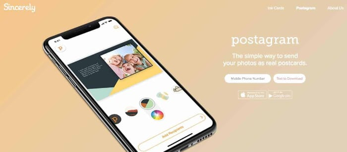 Send Instagram Photos as Real Postcards with Sincerely, Website Screenshot from: https://sincerely.com/postagram