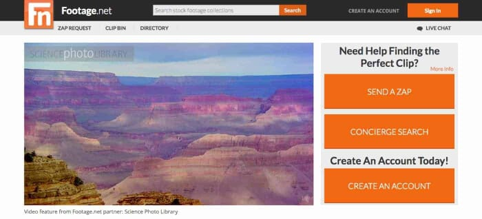 Footage.net the world's premier online video stock footage search platform (Screenshotp Footage.net)