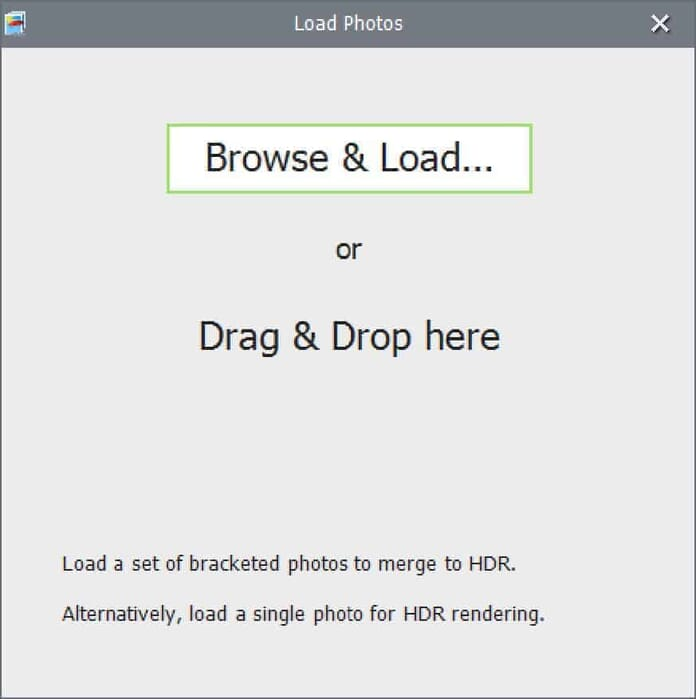 Photomatix Pro 6 Screenshot: Brows & Load or Drag & Drop Images