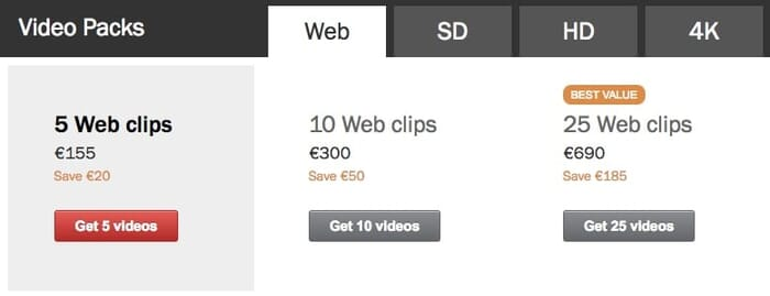 Shutterstock Footage Prices are affordable (Screenshot Shutterstock.com)