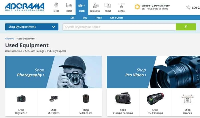 Buying used Photo Gear on Adorama.com