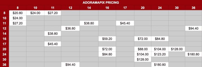 AdoramaPix Canvas Prices