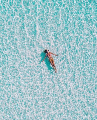 Aerial View Girl In Pool