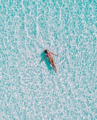 Aerial View Girl In Pool