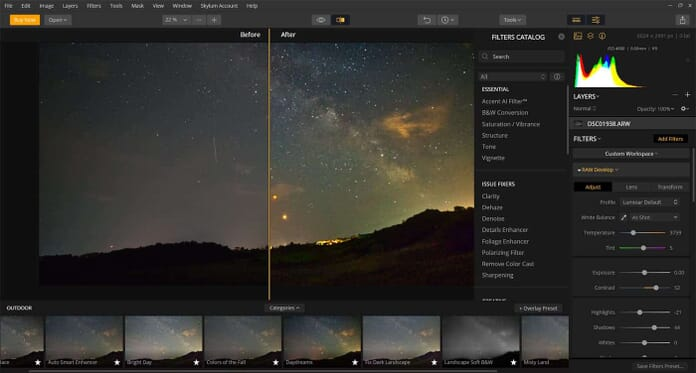 blood moon and milky way editing
