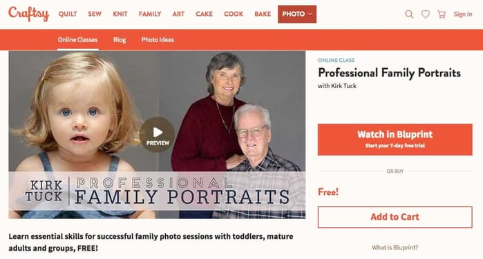 Craftsy - free Portrait Photography course