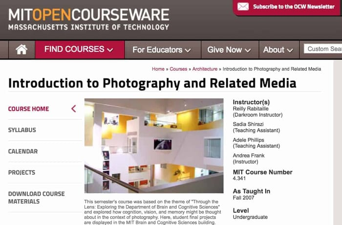 MIT Open Courseware - Free Online Photography Course
