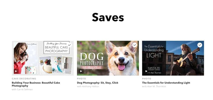 Craftsy saved courses