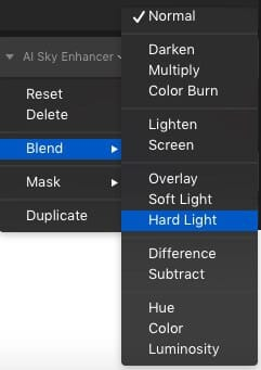 AI Sky Enhancer Fine Tune Options
