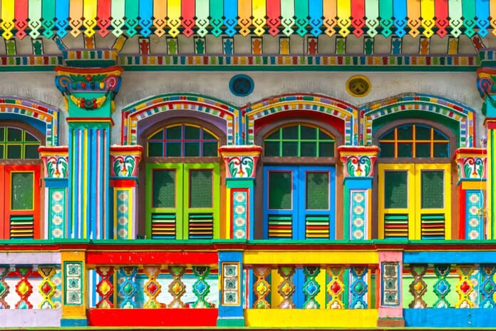 What to Photograph in Singapore: Colorful facade of building in Little India