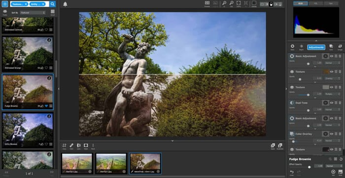 Topaz Studio Review - split view panel