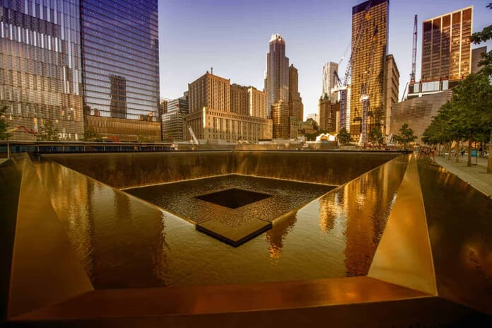 9/11 Memorial geometric architecture and buildings in New York City
