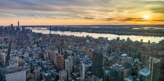 Manhattan skyline from above at the sundown, New York City