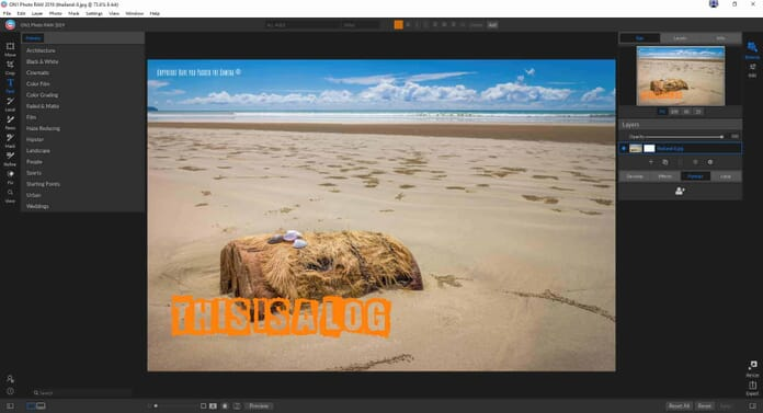 ON1 Photo RAW 2019 Review - Text tool