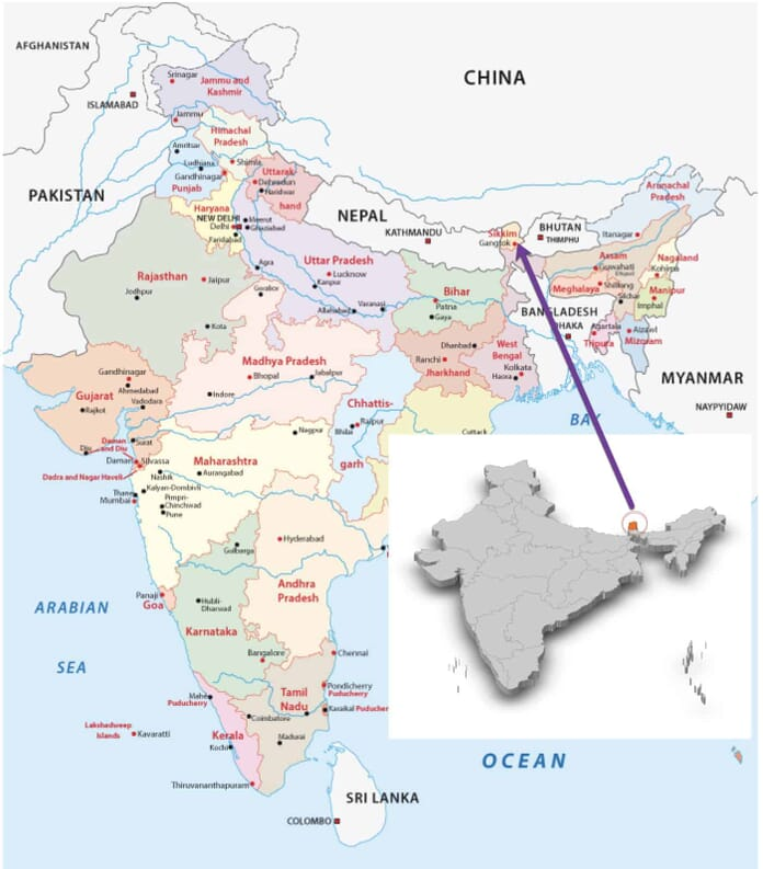 Map of India showing Sikkim