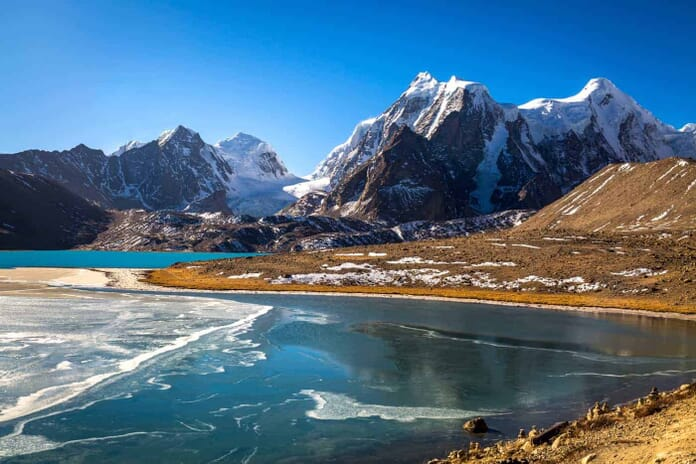Gurudongmar Lake in North Sikkim - One of the high altitude lakes of the world located at 17800 ft.
