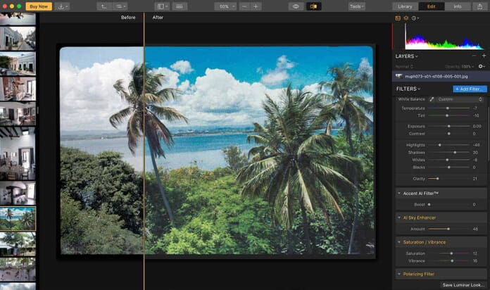 Luminar 3 (with Libraries) Before and After Functionality Screenshot