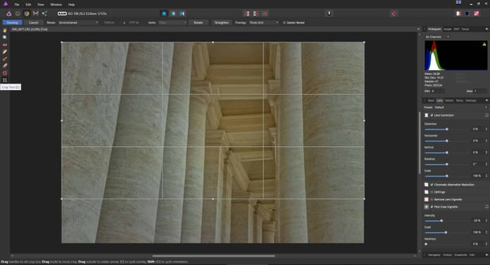 Affinity Photo review - Crop tool