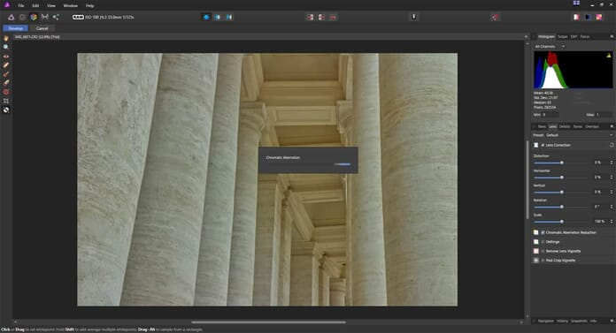 Affinity Photo review - Lens correction