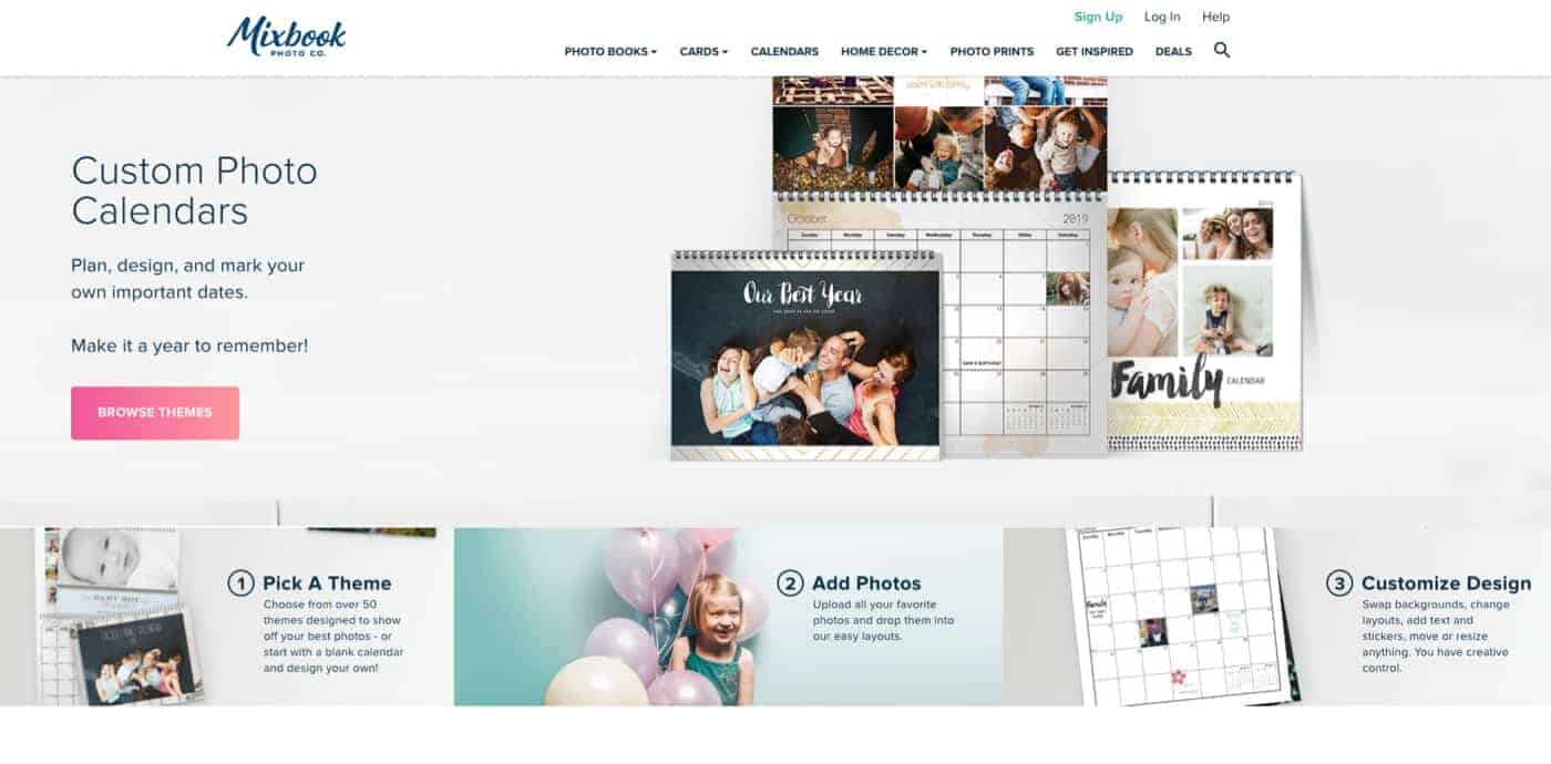 Choose your photo calendar type and size