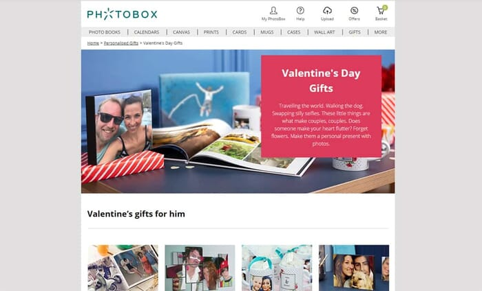 Photobox Valentines Gifts review - Main screen