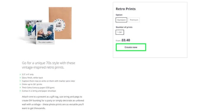 Photobox Valentines Gifts review - Select photo type