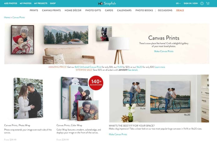 Snapfish.com Custom Canvas Prints Section - a great place to create your own canvas photo prints
