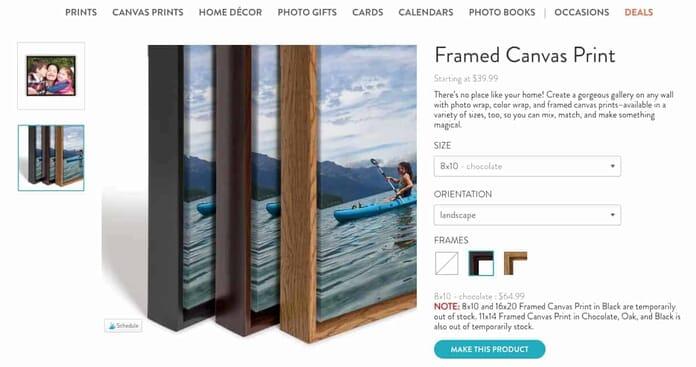 Snapfish Framed Canvas Print Options (Sreenshot of the Sanpafish.com Website)