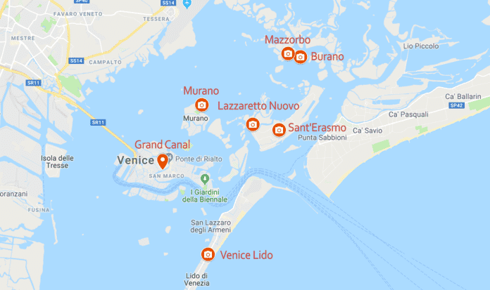 map of where to photograph in Venice