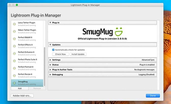 installing SmugMug on Lightroom