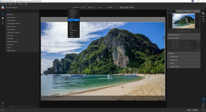 ON1 Resize 2018 Review - Crop Tool