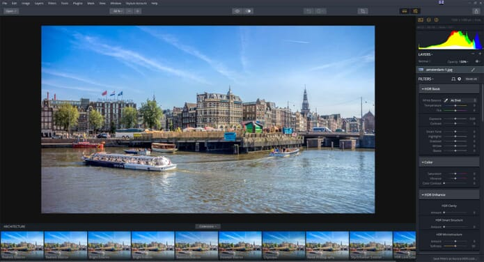 Aurora HDR 2019 vs Photomatix Pro 6.1 - Aurora HDR Layout
