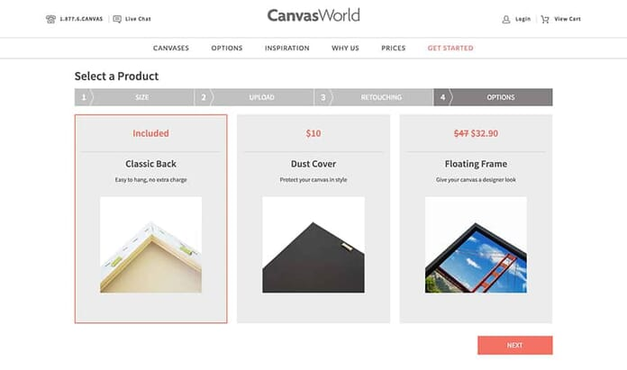 CanvasWorld backing selections