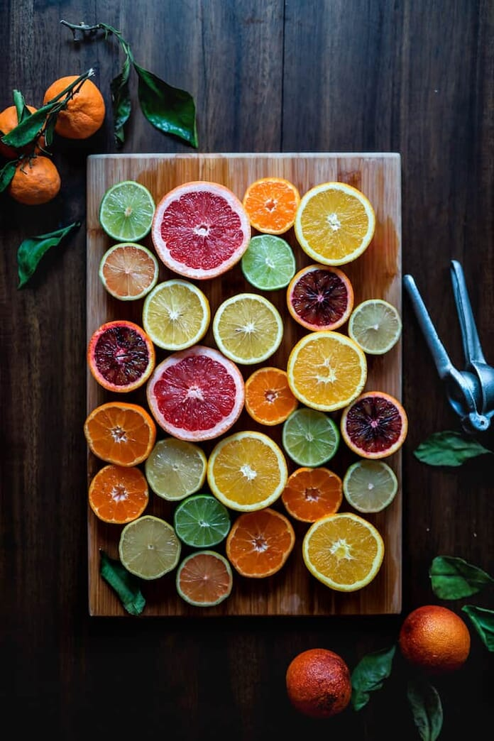 citrus fruit flat lay