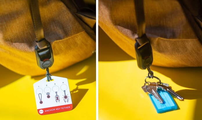peark design everyday backpack key tether