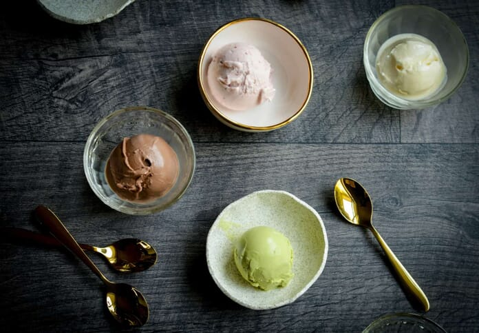 ice cream flat lay