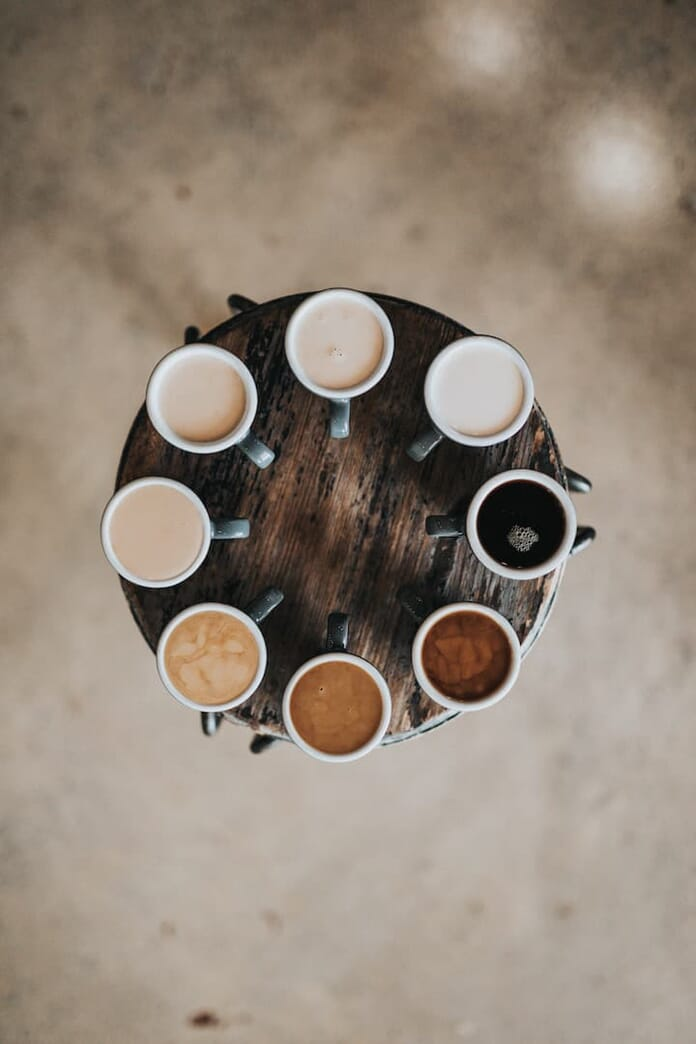 coffee cup flat lay